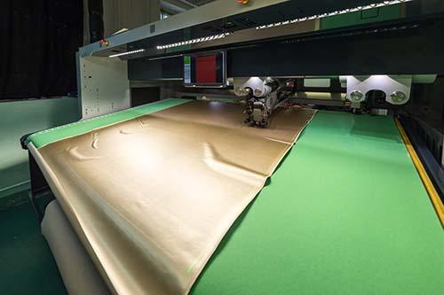 Machine cutting Herculite fabric
