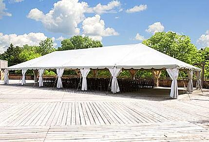 A large commercial party tent after cleaning