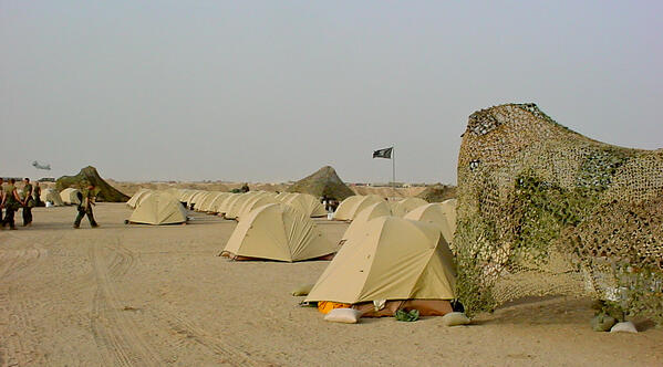 Tents in a war zone