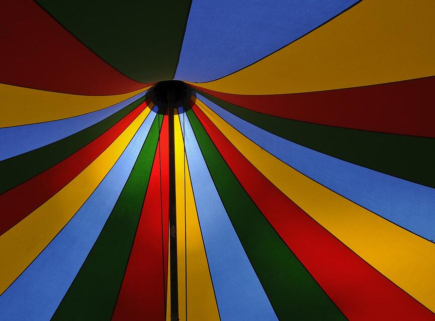 Inside of a carnival tent