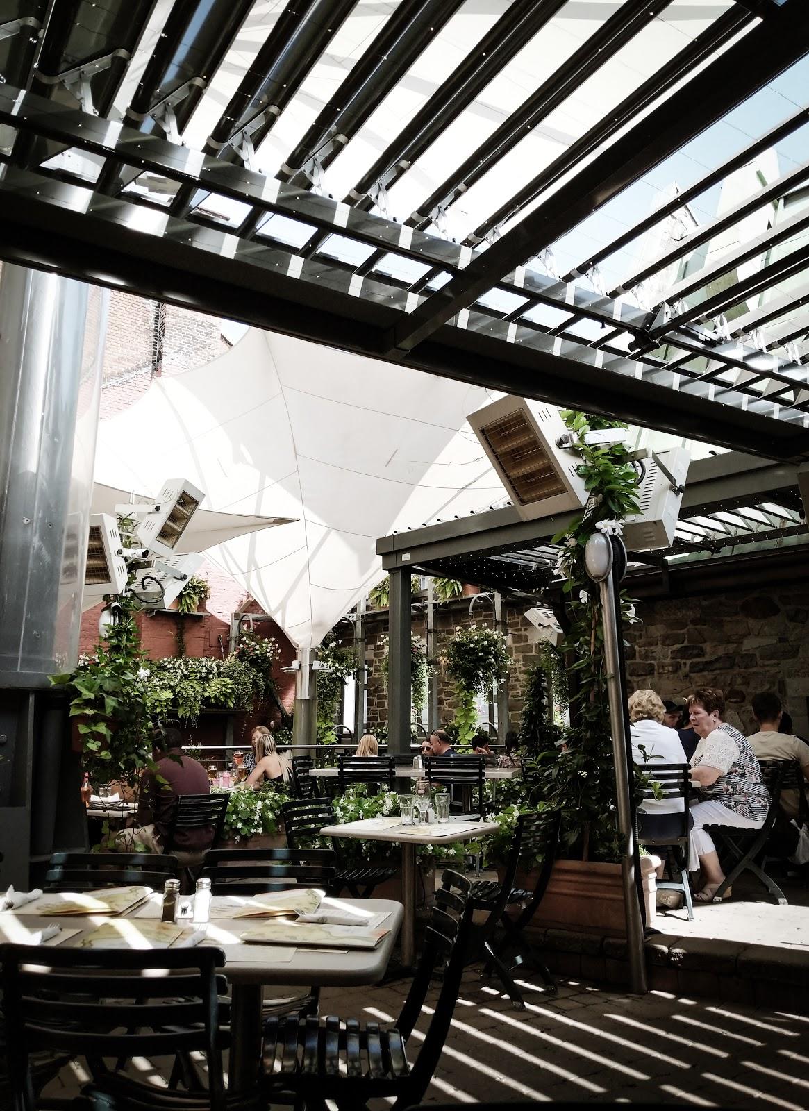 Seasonal restaurant patio with plants